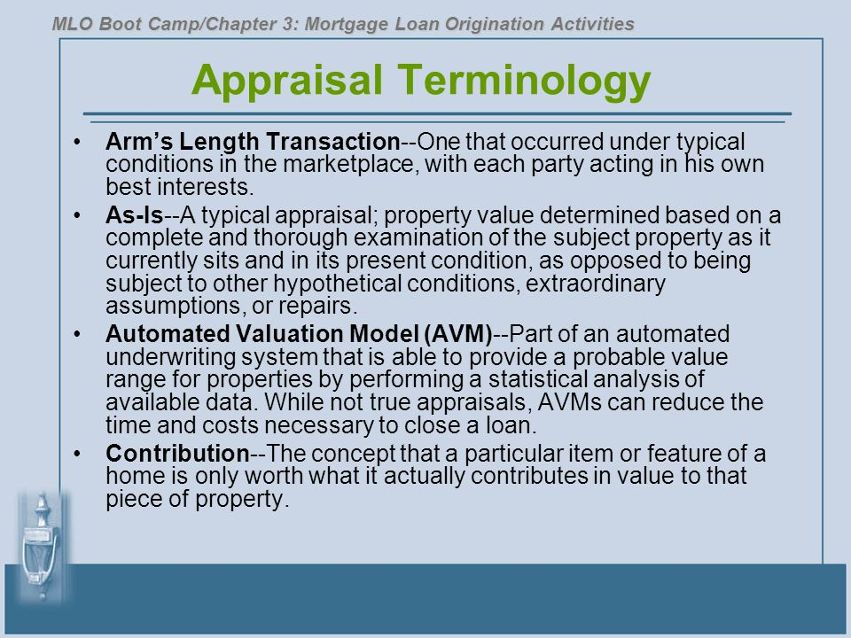 Appraisal Terminology Arm's Length Transaction--One that occurred under typical conditions in the marketplace, with each party acting in his own best interests.