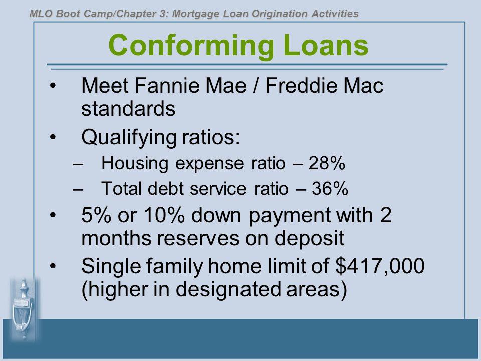 Conforming Loans Meet Fannie Mae / Freddie Mac standards Qualifying ratios: –Housing expense ratio – 28% –Total debt service ratio – 36% 5% or 10% dow