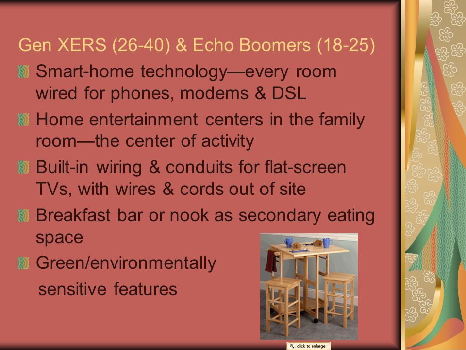 Gen XERS (26-40) & Echo Boomers (18-25) Smart-home technology—every room wired for phones, modems & DSL Home entertainment centers in the family room—