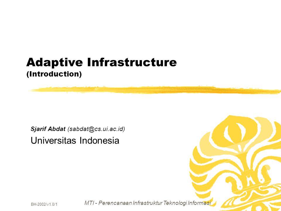 MTI - Perencanaan Infrastruktur Teknologi Informasi BH-2002/v1.0/1 Adaptive Infrastructure (Introduction) Sjarif Abdat (sabdat@cs.ui.ac.id) Universita