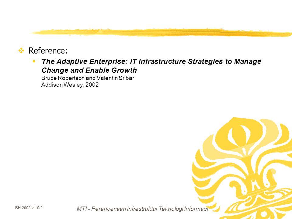 MTI - Perencanaan Infrastruktur Teknologi Informasi BH-2002/v1.0/2  Reference:  The Adaptive Enterprise: IT Infrastructure Strategies to Manage Chan