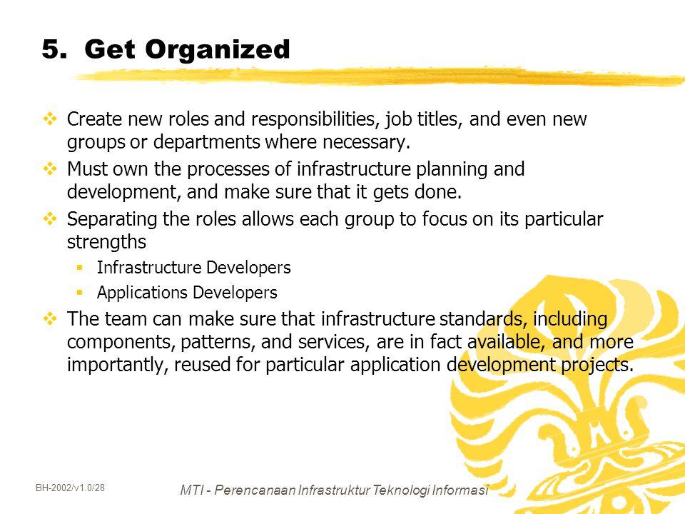 MTI - Perencanaan Infrastruktur Teknologi Informasi BH-2002/v1.0/28 5.Get Organized  Create new roles and responsibilities, job titles, and even new