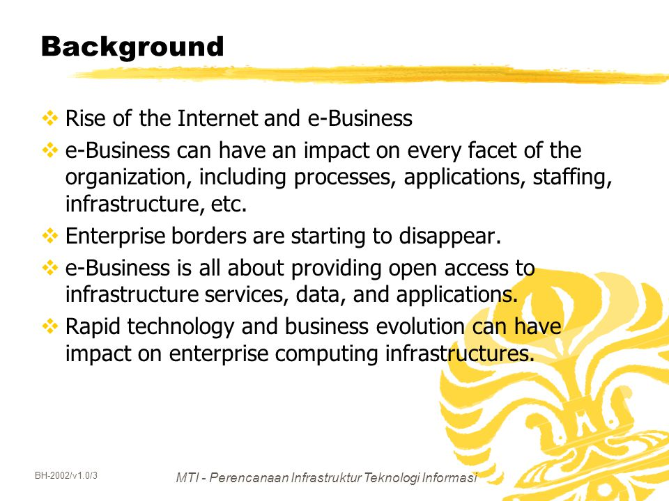 MTI - Perencanaan Infrastruktur Teknologi Informasi BH-2002/v1.0/3 Background  Rise of the Internet and e-Business  e-Business can have an impact on