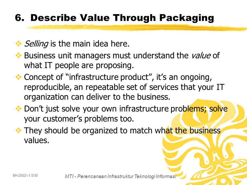 MTI - Perencanaan Infrastruktur Teknologi Informasi BH-2002/v1.0/30 6.Describe Value Through Packaging  Selling is the main idea here.  Business uni