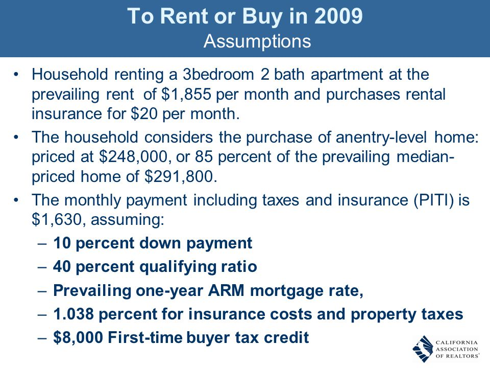 Household renting a 3bedroom 2 bath apartment at the prevailing rent of $1,855 per month and purchases rental insurance for $20 per month.