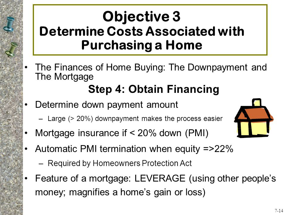 The Finances of Home Buying: The Downpayment and The Mortgage Step 4: Obtain Financing Determine down payment amount –Large (> 20%) downpayment makes the process easier Mortgage insurance if < 20% down (PMI) Automatic PMI termination when equity =>22% –Required by Homeowners Protection Act Feature of a mortgage: LEVERAGE (using other people's money; magnifies a home's gain or loss) Objective 3 Determine Costs Associated with Purchasing a Home 7-14