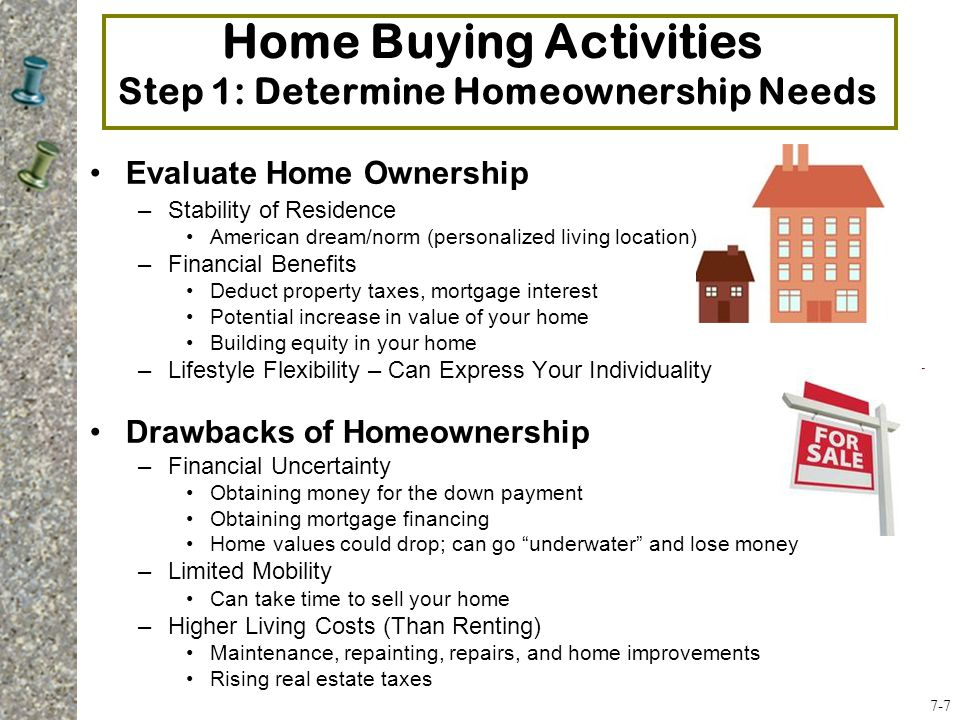 Evaluate Home Ownership –Stability of Residence American dream/norm (personalized living location) –Financial Benefits Deduct property taxes, mortgage interest Potential increase in value of your home Building equity in your home –Lifestyle Flexibility – Can Express Your Individuality Drawbacks of Homeownership –Financial Uncertainty Obtaining money for the down payment Obtaining mortgage financing Home values could drop; can go underwater and lose money –Limited Mobility Can take time to sell your home –Higher Living Costs (Than Renting) Maintenance, repainting, repairs, and home improvements Rising real estate taxes Home Buying Activities Step 1: Determine Homeownership Needs 7-7