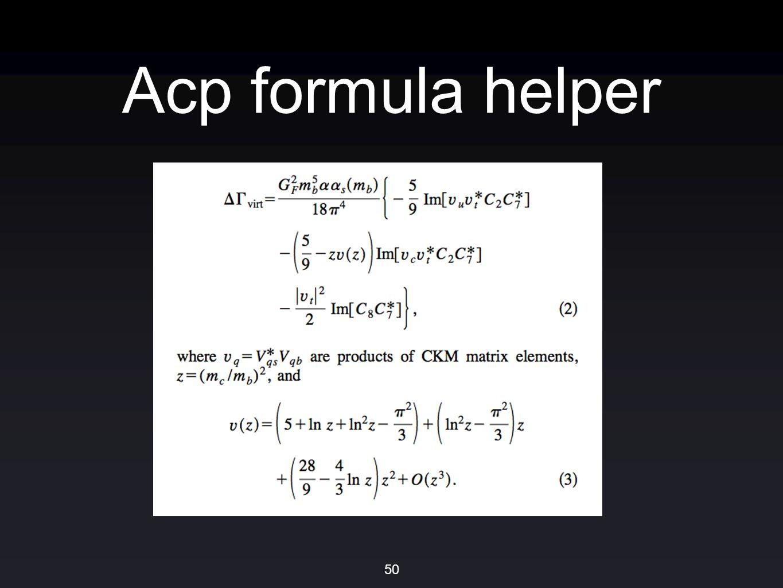 Acp formula helper 50