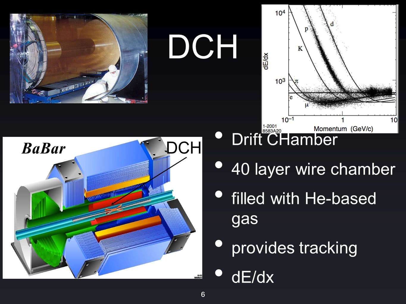 DCH Drift CHamber 40 layer wire chamber filled with He-based gas provides tracking dE/dx 6