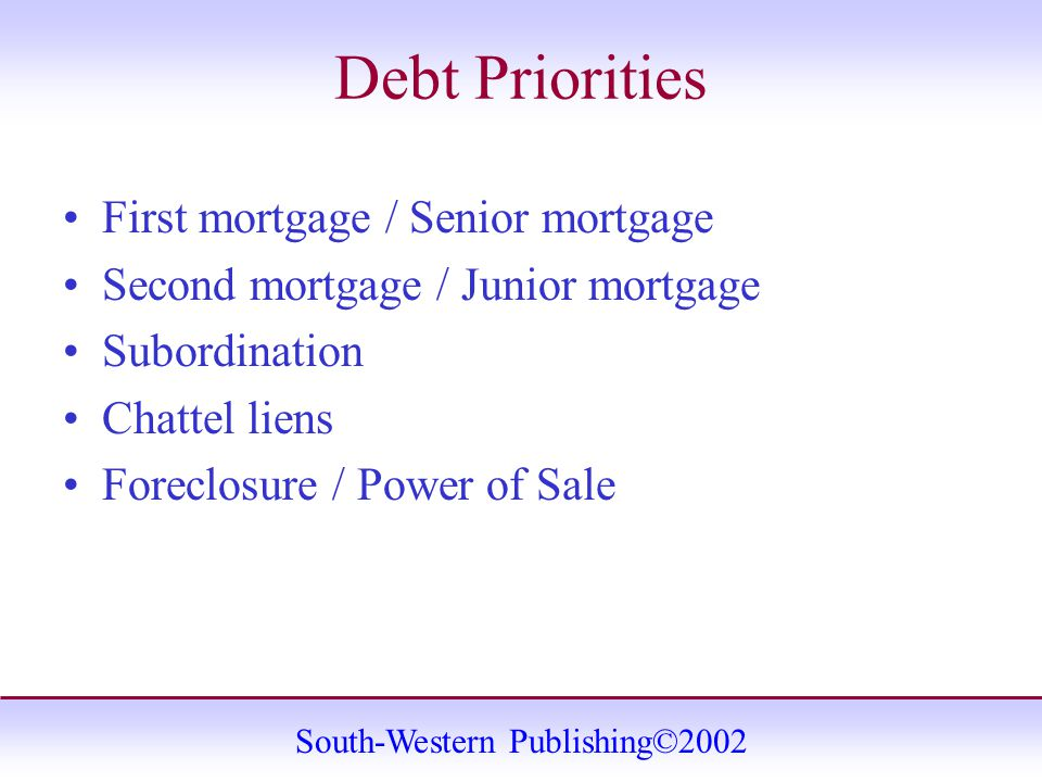 South-Western Publishing©2002 Debt Priorities First mortgage / Senior mortgage Second mortgage / Junior mortgage Subordination Chattel liens Foreclosure / Power of Sale