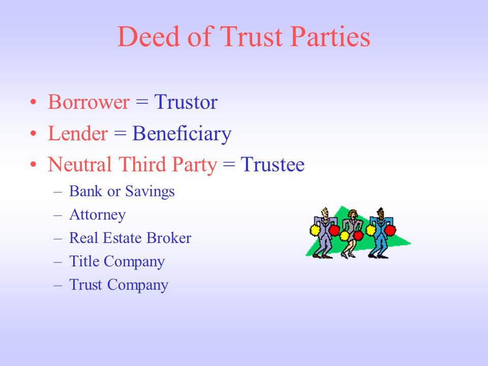 Deed of Trust Parties Borrower = Trustor Lender = Beneficiary Neutral Third Party = Trustee –Bank or Savings –Attorney –Real Estate Broker –Title Company –Trust Company