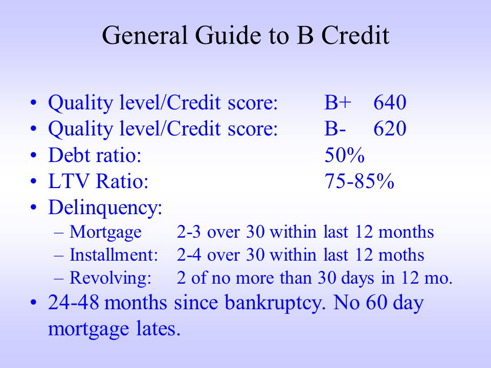 General Guide to B Credit Quality level/Credit score:B+640 Quality level/Credit score:B-620 Debt ratio:50% LTV Ratio:75-85% Delinquency: –Mortgage2-3 over 30 within last 12 months –Installment:2-4 over 30 within last 12 moths –Revolving:2 of no more than 30 days in 12 mo.