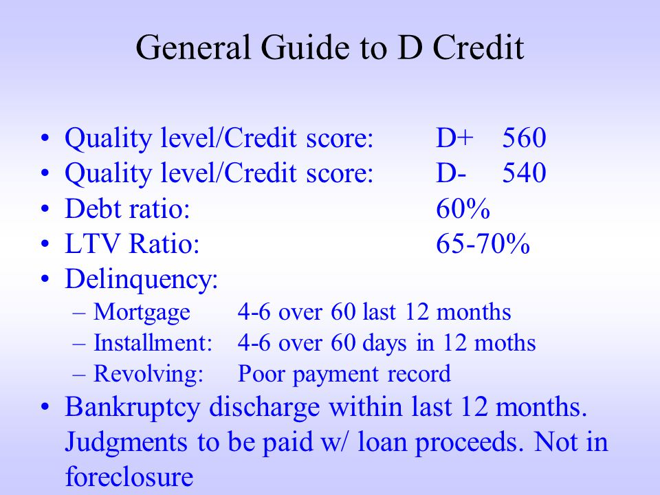 General Guide to D Credit Quality level/Credit score:D+560 Quality level/Credit score:D-540 Debt ratio:60% LTV Ratio:65-70% Delinquency: –Mortgage4-6 over 60 last 12 months –Installment:4-6 over 60 days in 12 moths –Revolving:Poor payment record Bankruptcy discharge within last 12 months.