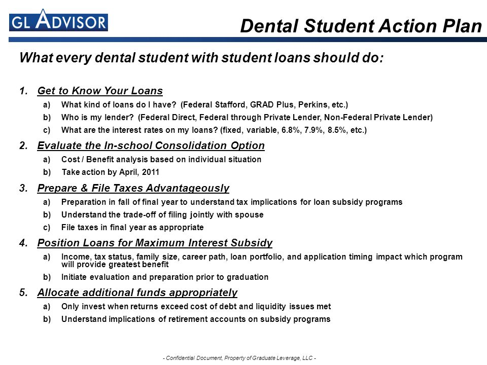 - Confidential Document, Property of Graduate Leverage, LLC - What every dental student with student loans should do: 1.Get to Know Your Loans a)What