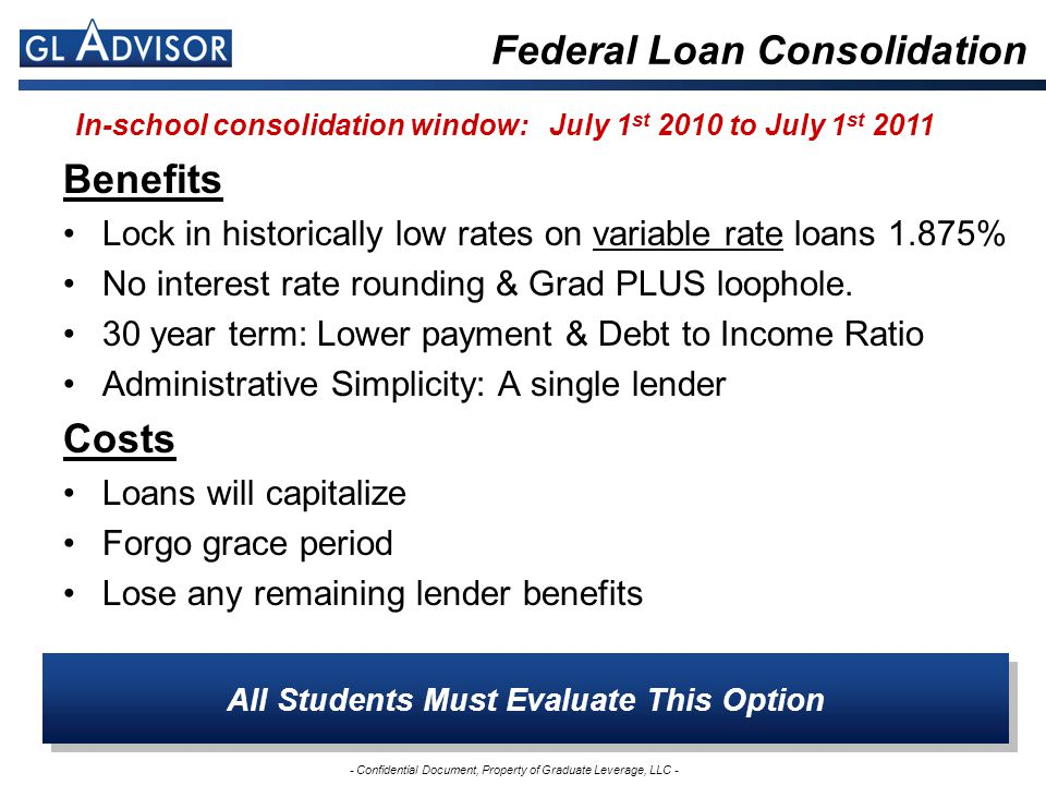 - Confidential Document, Property of Graduate Leverage, LLC - Federal Loan Consolidation All Students Must Evaluate This Option In-school consolidation window: July 1 st 2010 to July 1 st 2011 Benefits Lock in historically low rates on variable rate loans 1.875% No interest rate rounding & Grad PLUS loophole.