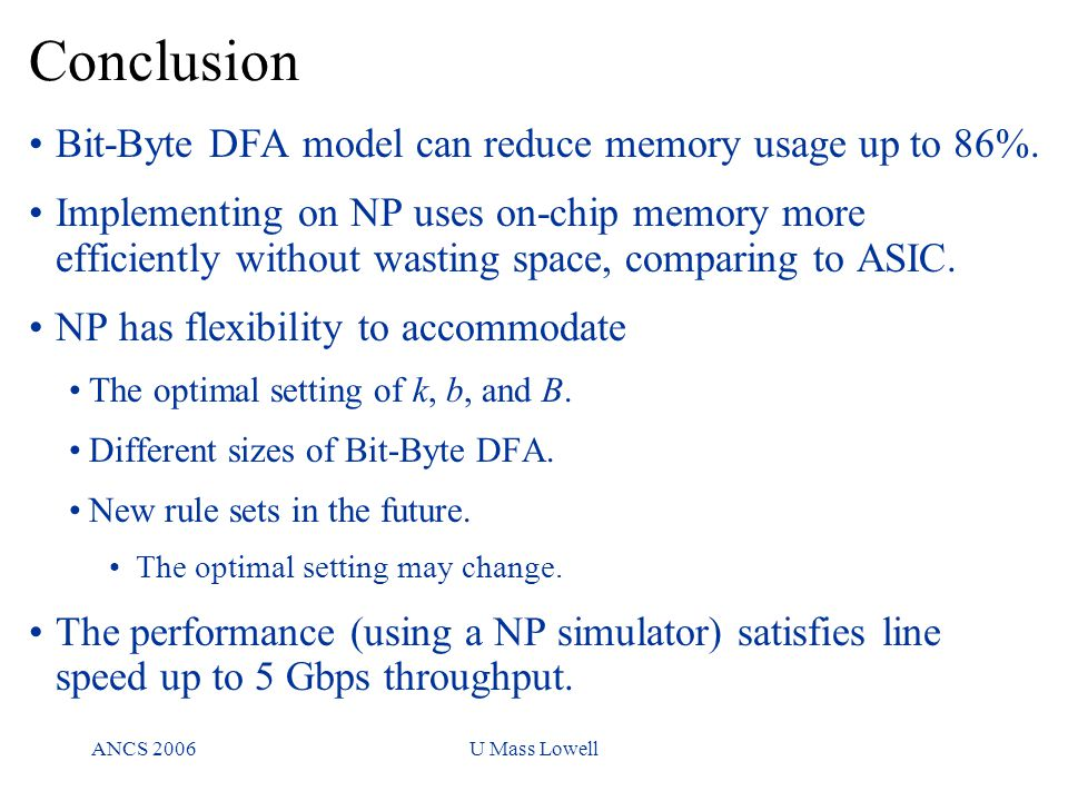 ANCS 2006U Mass Lowell Conclusion keywords per subset Bit-Byte DFA model can reduce memory usage up to 86%.