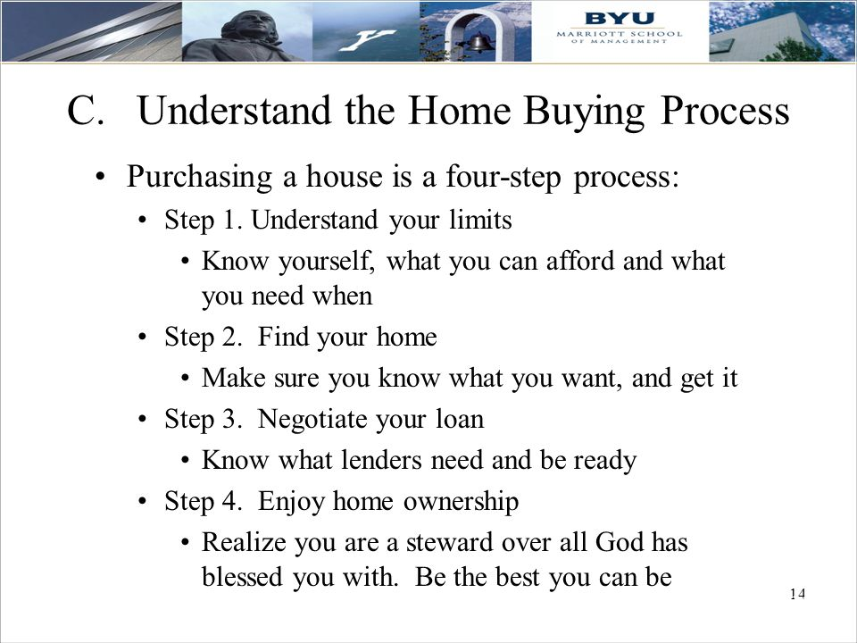 14 C.Understand the Home Buying Process Purchasing a house is a four-step process: Step 1.