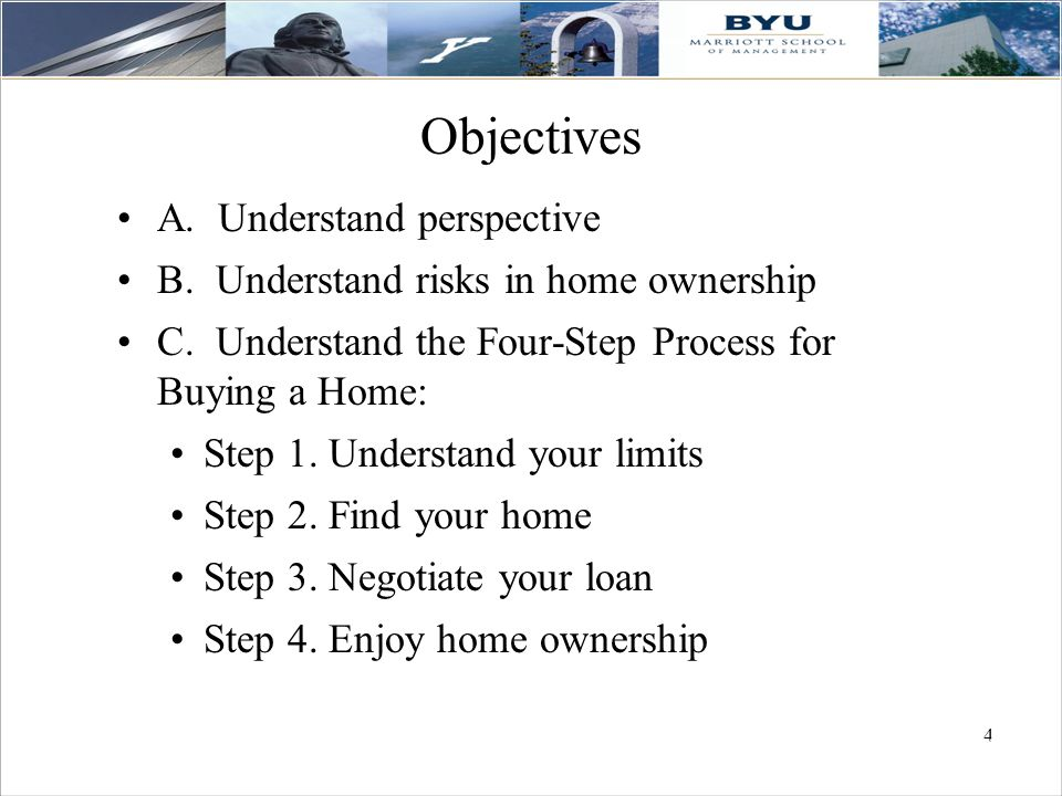 44 4 Objectives A.Understand perspective B. Understand risks in home ownership C.