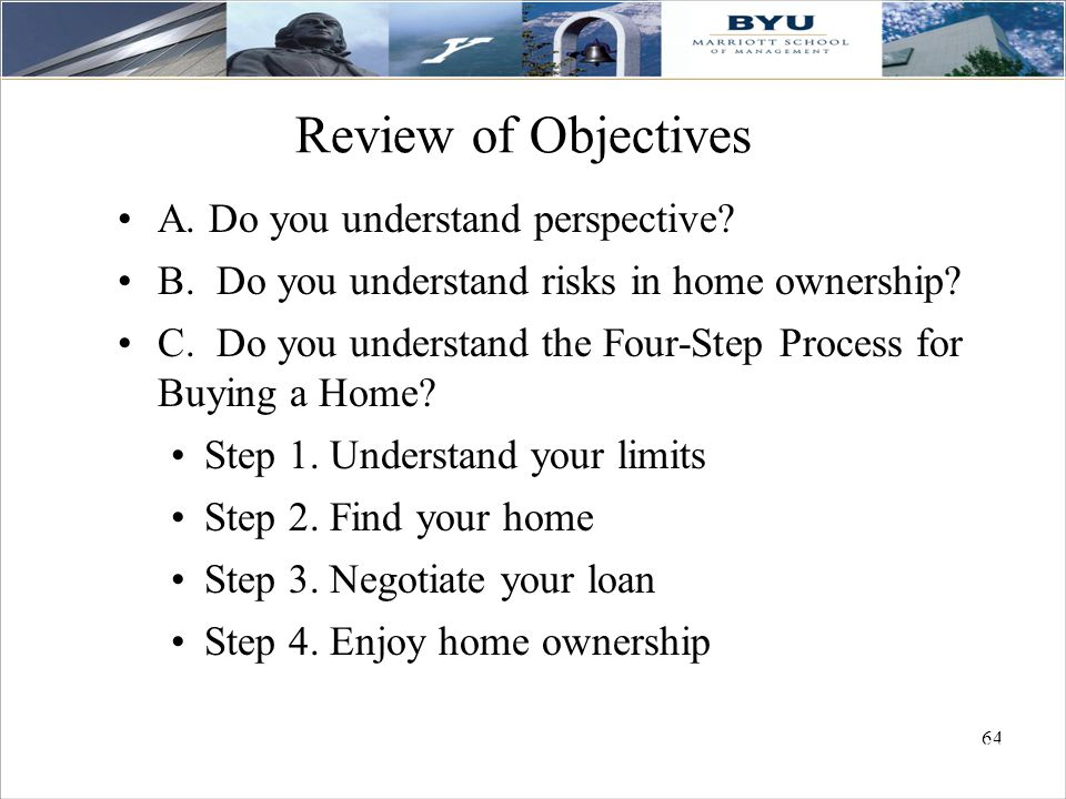 64 Review of Objectives A.Do you understand perspective.