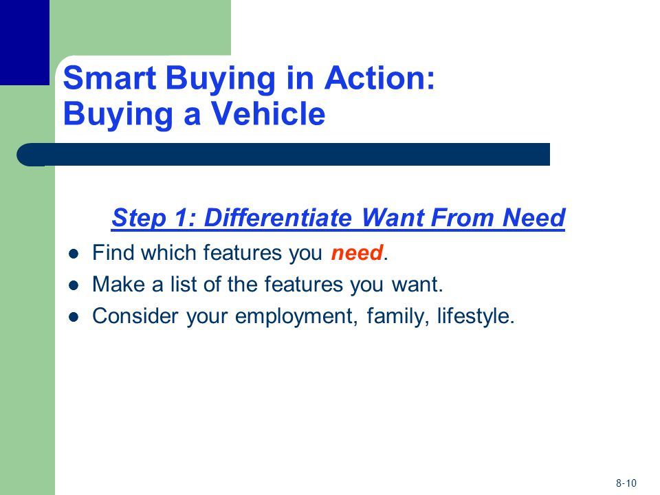 8-10 Smart Buying in Action: Buying a Vehicle Step 1: Differentiate Want From Need Find which features you need.