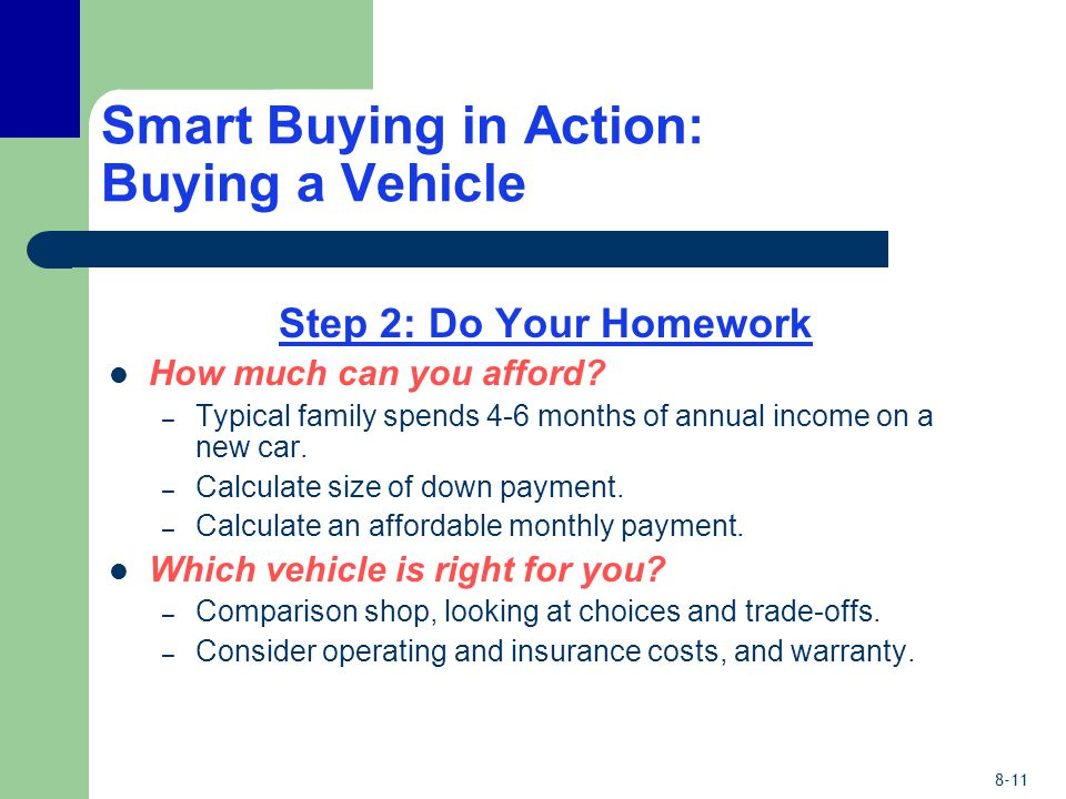 8-11 Smart Buying in Action: Buying a Vehicle Step 2: Do Your Homework How much can you afford.