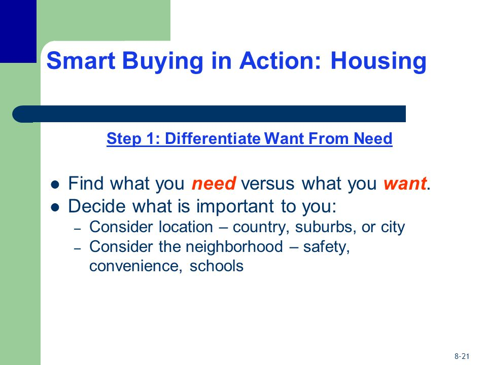 8-21 Smart Buying in Action: Housing Step 1: Differentiate Want From Need Find what you need versus what you want. Decide what is important to you: –
