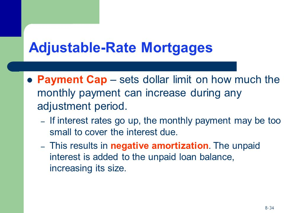 8-34 Adjustable-Rate Mortgages Payment Cap – sets dollar limit on how much the monthly payment can increase during any adjustment period. – If interes