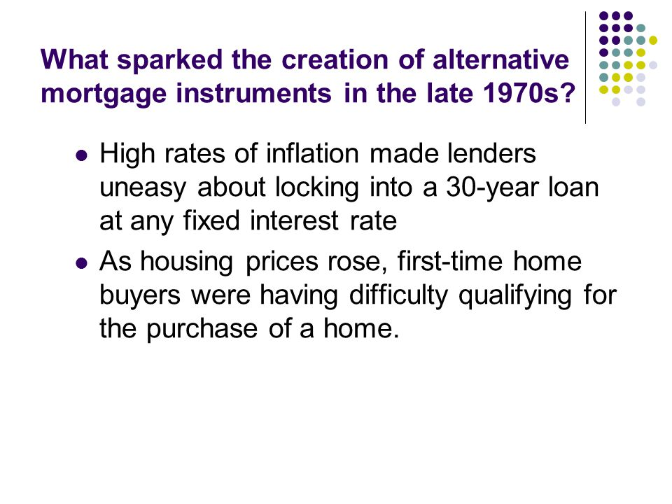 What sparked the creation of alternative mortgage instruments in the late 1970s.