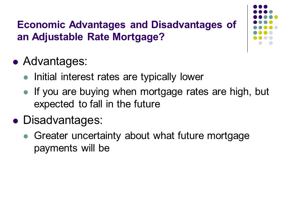 Economic Advantages and Disadvantages of an Adjustable Rate Mortgage.