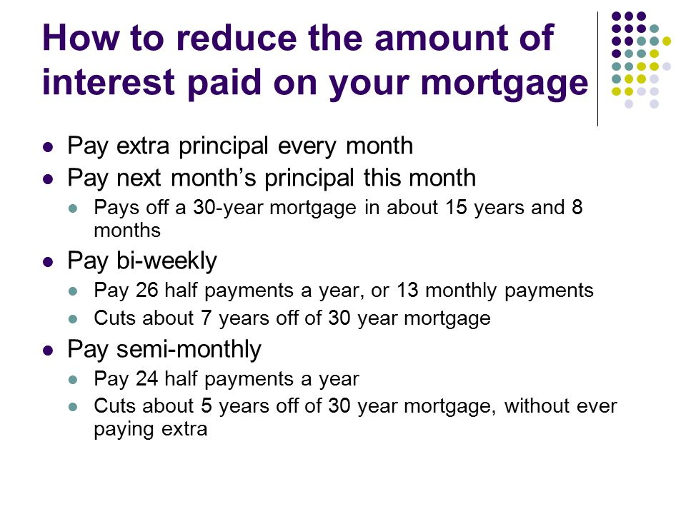 How to reduce the amount of interest paid on your mortgage Pay extra principal every month Pay next month's principal this month Pays off a 30-year mortgage in about 15 years and 8 months Pay bi-weekly Pay 26 half payments a year, or 13 monthly payments Cuts about 7 years off of 30 year mortgage Pay semi-monthly Pay 24 half payments a year Cuts about 5 years off of 30 year mortgage, without ever paying extra