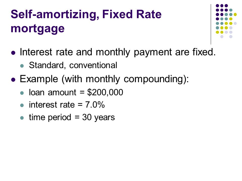 Self-amortizing, Fixed Rate mortgage Interest rate and monthly payment are fixed.