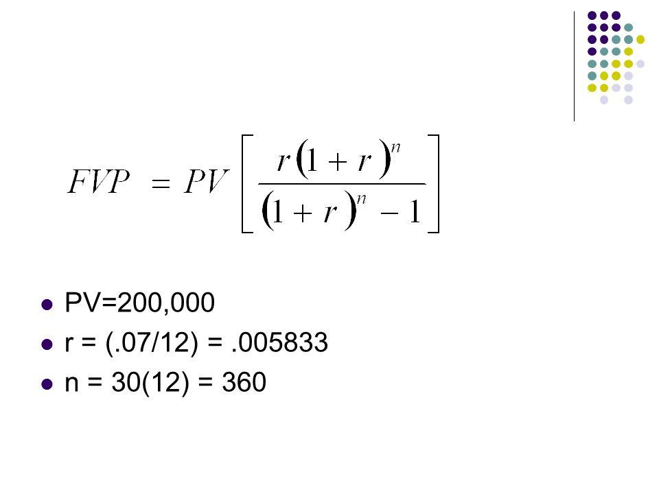 PV=200,000 r = (.07/12) =.005833 n = 30(12) = 360