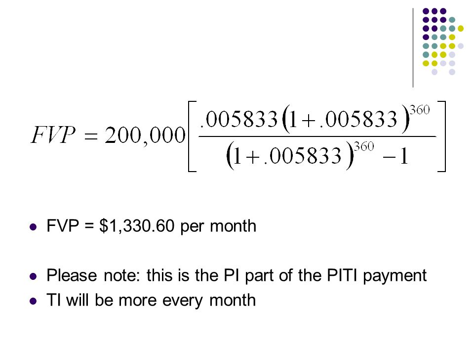 FVP = $1,330.60 per month Please note: this is the PI part of the PITI payment TI will be more every month