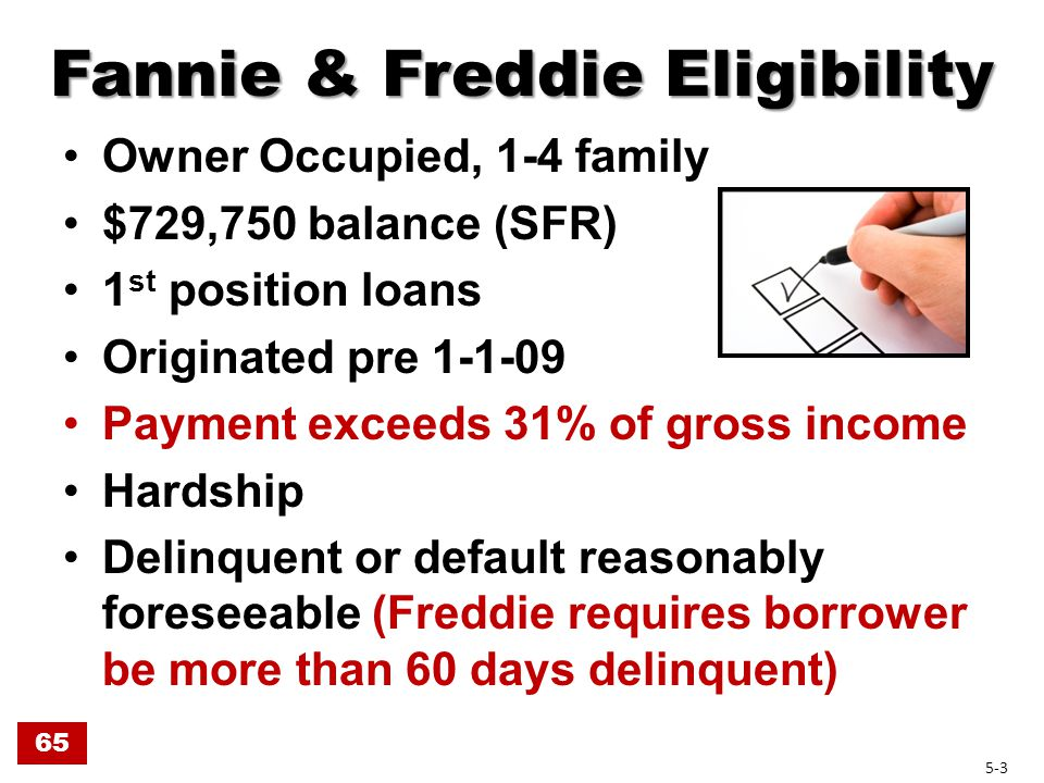 Payment on 1 st Lien Exceeds 31% of Gross Income Includes: Includes: – PITI – Flood Ins., Condo Assn Fees & HOA Fees Does not include: Does not include: – Mortgage Insurance – Sub.