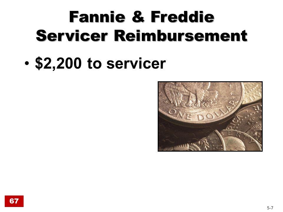 Fannie & Freddie Servicer Reimbursement $2,200 to servicer 67 5-7