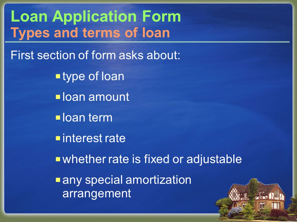 Loan Application Form First section of form asks about:  type of loan  loan amount  loan term  interest rate  whether rate is fixed or adjustable  any special amortization arrangement Types and terms of loan