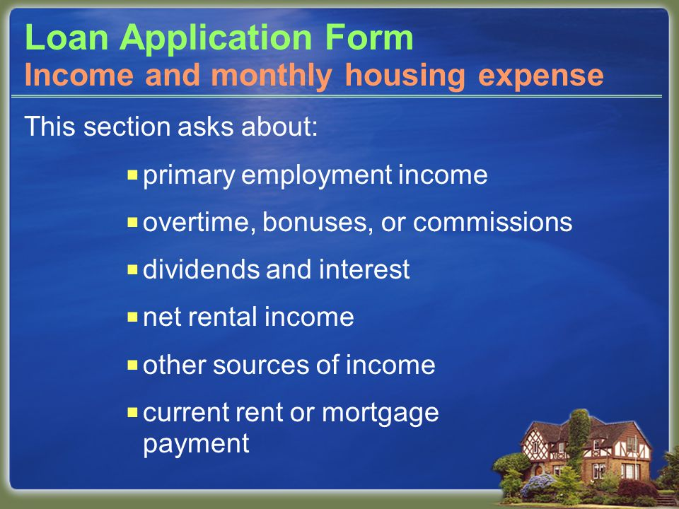 Loan Application Form This section asks about:  primary employment income  overtime, bonuses, or commissions  dividends and interest  net rental income  other sources of income  current rent or mortgage payment Income and monthly housing expense