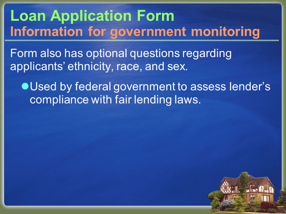 Loan Application Form Form also has optional questions regarding applicants' ethnicity, race, and sex.