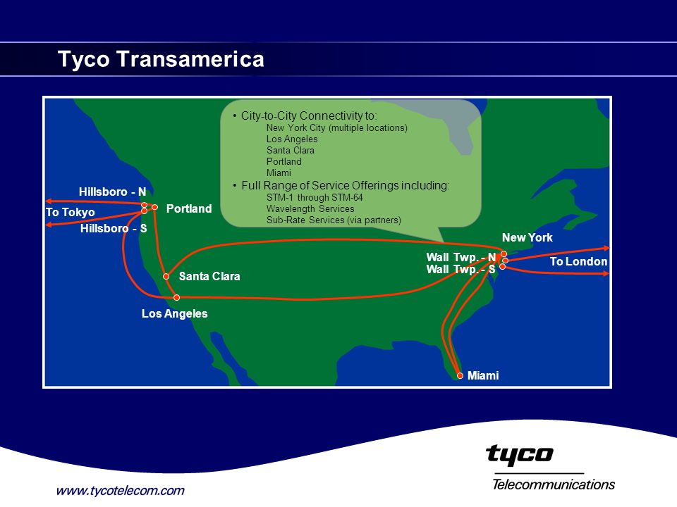 Tyco Transamerica Santa Clara Los Angeles New York Portland Hillsboro - N Hillsboro - S Miami City-to-City Connectivity to: New York City (multiple locations) Los Angeles Santa Clara Portland Miami Full Range of Service Offerings including: STM-1 through STM-64 Wavelength Services Sub-Rate Services (via partners) To Tokyo To London Wall Twp.