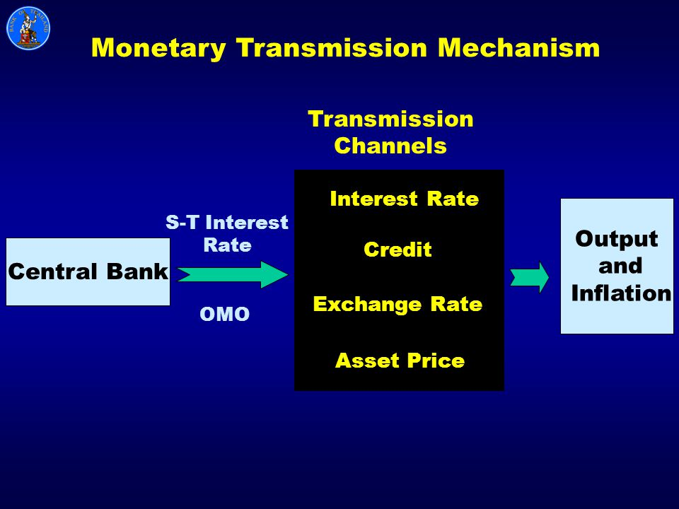 Central Bank Output and Inflation S-T Interest Rate OMO Monetary Transmission Mechanism Transmission Channels Interest Rate Credit Exchange Rate Asset Price