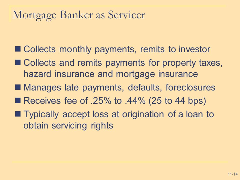 11-14 Mortgage Banker as Servicer Collects monthly payments, remits to investor Collects and remits payments for property taxes, hazard insurance and mortgage insurance Manages late payments, defaults, foreclosures Receives fee of.25% to.44% (25 to 44 bps) Typically accept loss at origination of a loan to obtain servicing rights