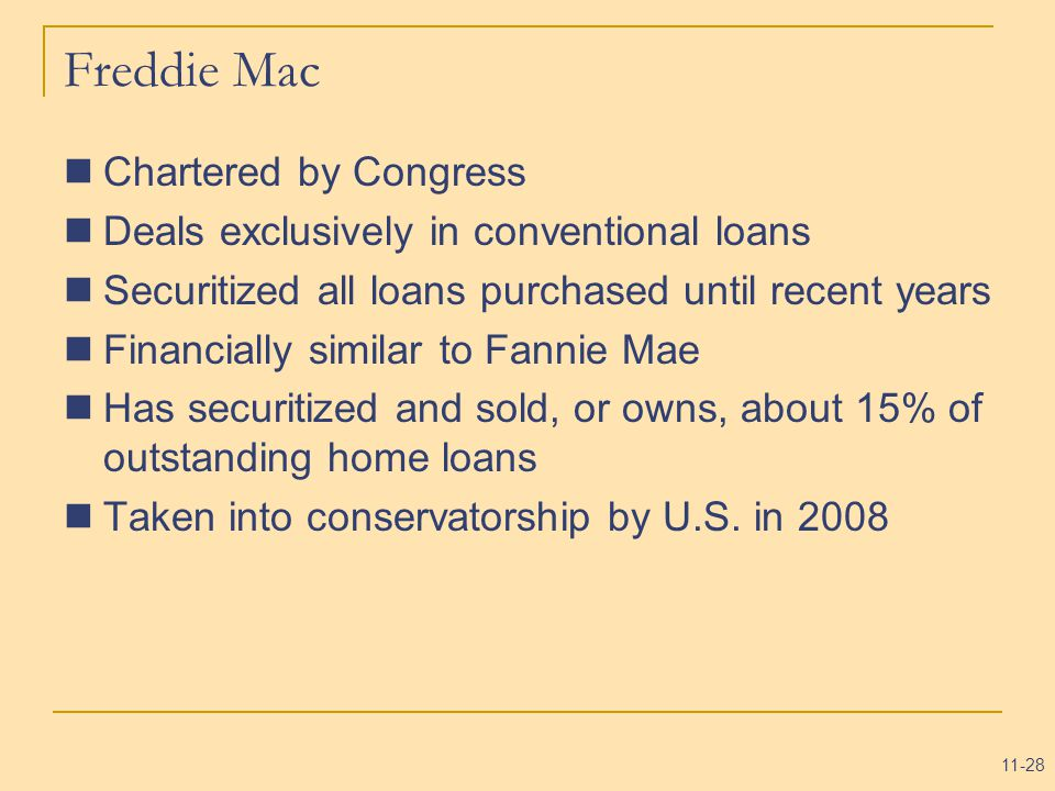 11-28 Freddie Mac Chartered by Congress Deals exclusively in conventional loans Securitized all loans purchased until recent years Financially similar to Fannie Mae Has securitized and sold, or owns, about 15% of outstanding home loans Taken into conservatorship by U.S.