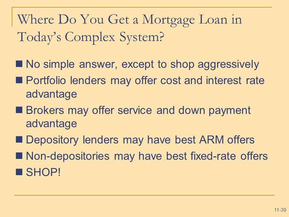 11-39 Where Do You Get a Mortgage Loan in Today's Complex System.