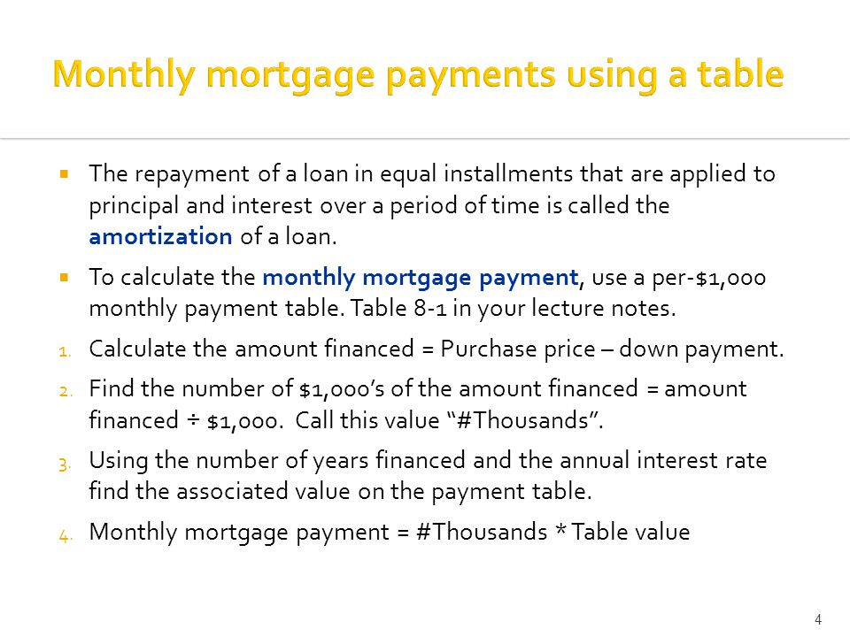  The repayment of a loan in equal installments that are applied to principal and interest over a period of time is called the amortization of a loan.