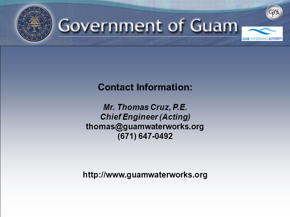 Contact Information: Mr. Thomas Cruz, P.E.