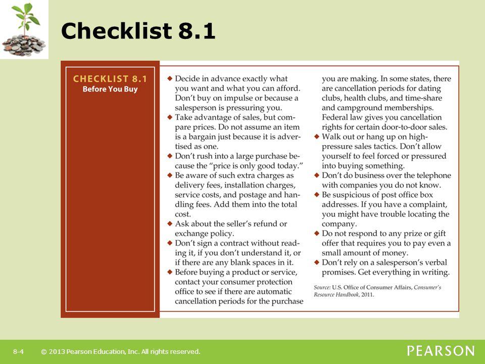 © 2013 Pearson Education, Inc. All rights reserved.8-4 Checklist 8.1