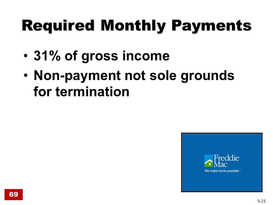 Required Monthly Payments 31% of gross income Non-payment not sole grounds for termination 69 5-21