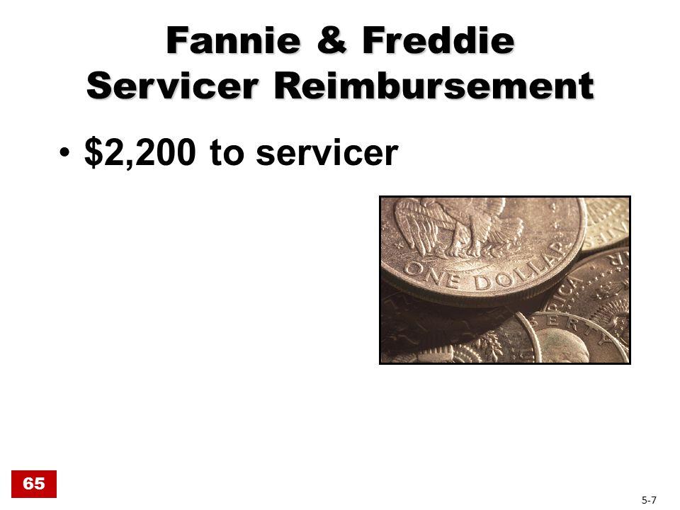 Fannie & Freddie Servicer Reimbursement $2,200 to servicer 65 5-7