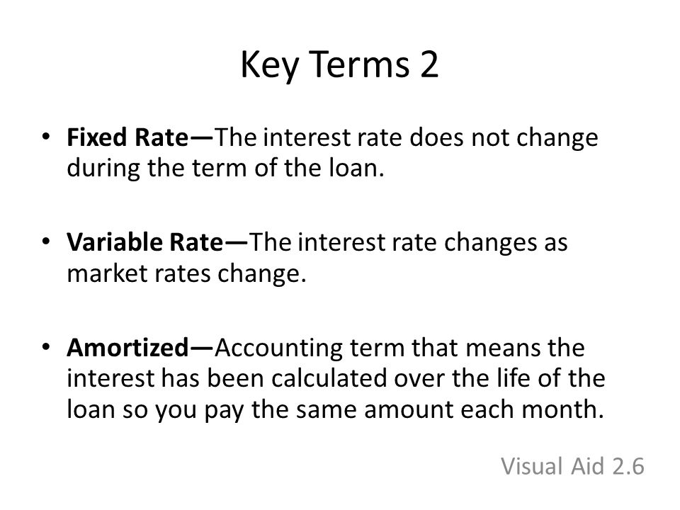 Key Terms 2 Fixed Rate—The interest rate does not change during the term of the loan.