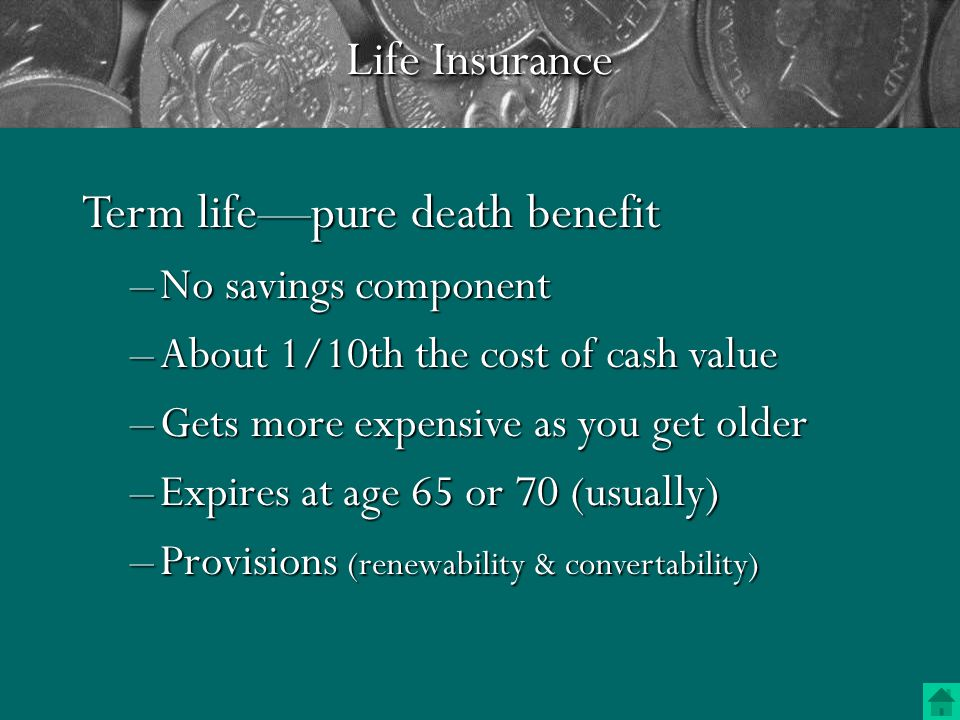 Insurance rules of thumb –The more you earn, the more you need Take assets into consideration as wellTake assets into consideration as well –Higher deductibles can save a lot of money Make sure your rainy day savings are sufficient to cover any lossesMake sure your rainy day savings are sufficient to cover any lossesInsurance